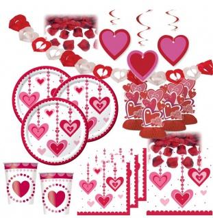 XXL hängende Herzchen Deko Set 8 Personen Herzen Valentinstag