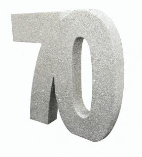 Deko Glitzer Zahl 70. Geburtstag Silber