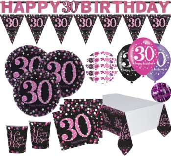 XXL Pink Glitzer Party Set zum 30. Geburtstag für 8 Personen
