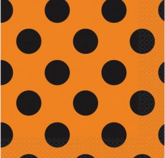 16 Pünktchen Servietten Schwarz Orange