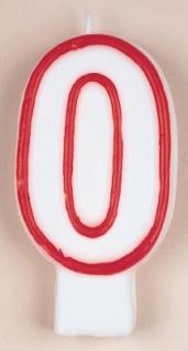Zahlenkerze in weiß mit rot 0