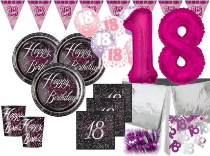 XXL 44 Teile edles Party Deko Set zum 18. Geburtstag in Schwarz Pink Silber foliert für 8 Personen
