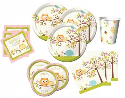 80 Teile rosa Baby Eule Baby Shower Party Deko Set für 16 Personen