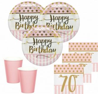 36 Teile Pink Chic Party Deko Set zum 70. Geburtstag in Rosa und Gold Glanz für 8 Personen
