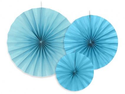 3 hängende Dekofächer Bermuda Blau mit Muster