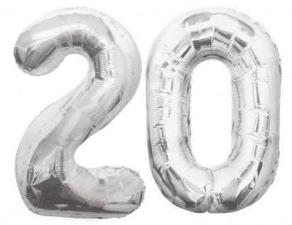 Folien Ballon Zahl 20 in Silber - XXL Riesenzahl 86 cm zum 20. Geburtstag in Silber