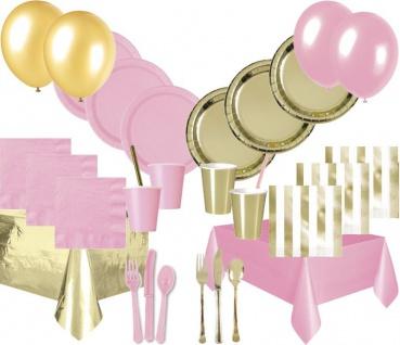 XXL 142 Teile Party Deko Set Baby Rosa Gold Glanz für bis zu 12 Personen