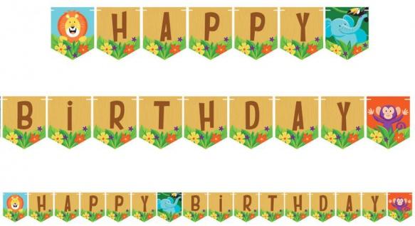 Geburtstags Girlande am Zwirn fröhliche Dschungel Party