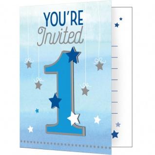 8 Einladungskarten zum 1. Geburtstag blinke kleiner Stern in Blau
