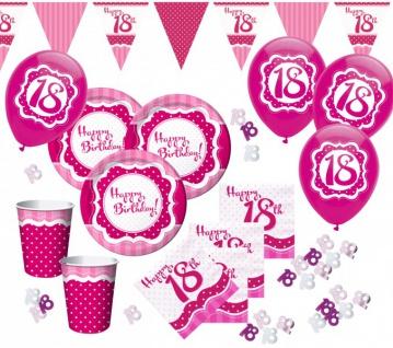58 Teile zum 18. Geburtstag Party Set Perfectly Pink für 16 Personen