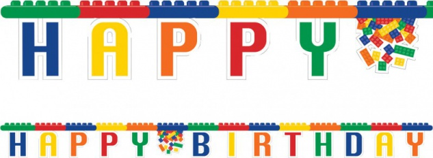 Geburtstags Girlande bunte Bausteine