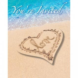 8 Einladungskarten Beach Love
