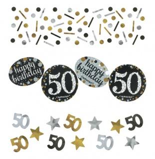 Deko Konfetti 50. Geburtstag in Silber und Gold Glitzer