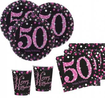 48 Teile zum 50. Geburtstag Pink Glitzer für 16 Personen
