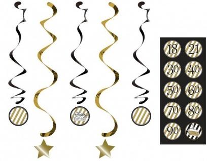 34 Teile Dekorations Set zum 60. Geburtstag oder Jubiläum - Party Deko in Schwarz & Gold - Vorschau 5