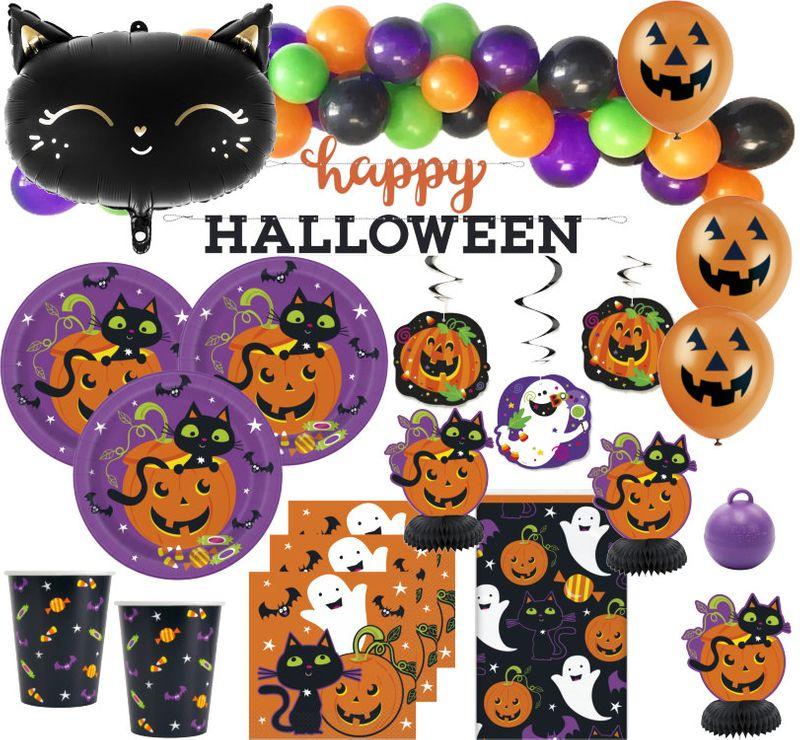Xxl 105 Teile Halloween Deko Set Schwarze Katze Und Kurbis Fur 16 Kinder Kaufen Bei Kids Party World