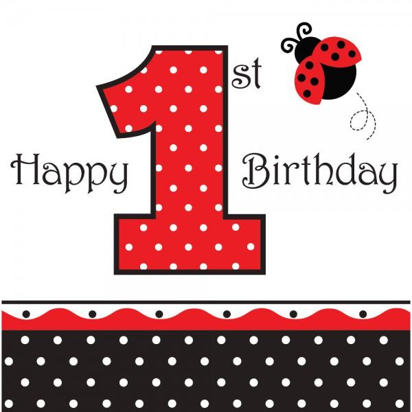 16 Marienkafer 1 Geburtstags Servietten Kaufen Bei Kids Party World