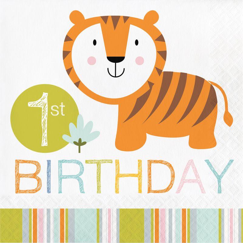 1 Geburtstag 16 Servietten Baby Safari Kaufen Bei Kids Party World