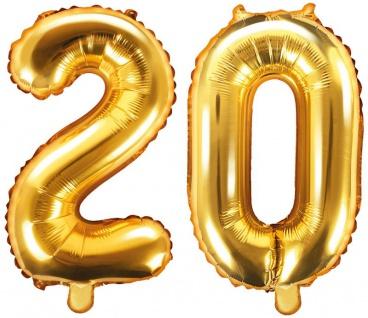Folienballons Zahl 20 Gold Metallic 35 cm
