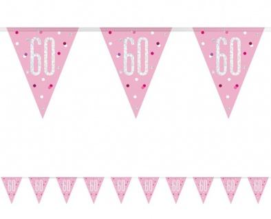 Wimpel Girlande Pink Dots Glitzer zum 60. Geburtstag