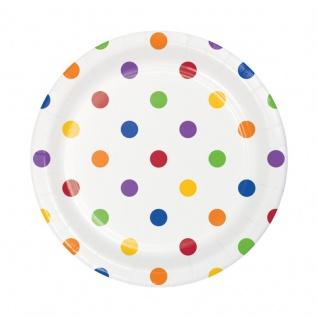 8 bunte kleine Papp Teller Punkte und Streifen Regenbogen