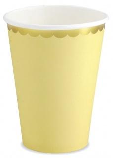 6 Papp Becher Pastell Gelb mit Gold Rand