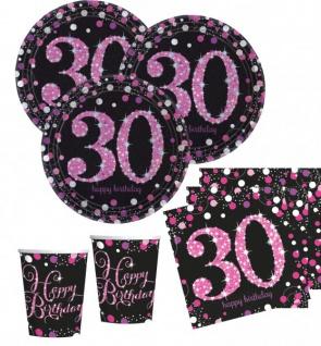 48 Teile zum 30. Geburtstag Pink Glitzer für 16 Personen