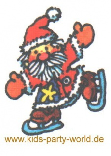 Weihnachtsmann mit Schlittschuhen Mini Tattoo