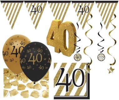 30 Teile Set zum 40. Geburtstag oder Jubiläum - Party Deko in Schwarz & Gold