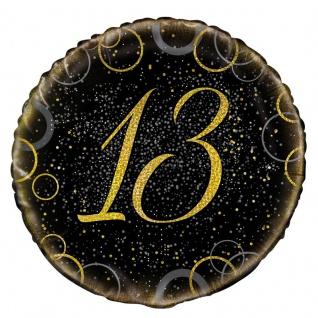 13. Geburtstag Folien Ballon Schwarz Gold