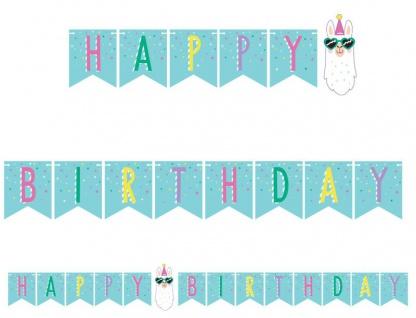 Geburtstags Girlande am Satinband bunte Lama Party
