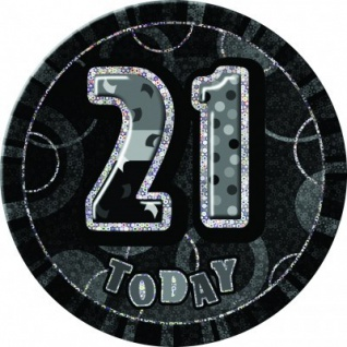 XXL Glitzer Button 21. Geburtstag Schwarz