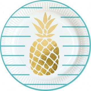 8 Teller goldene Ananas