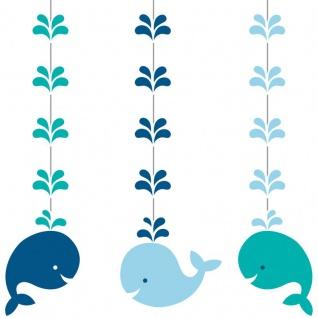 3 hängende Girlanden Happy Baby Wal Party Blau