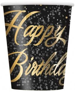 8 Happy Birthday Becher in Schwarz Gold foliert