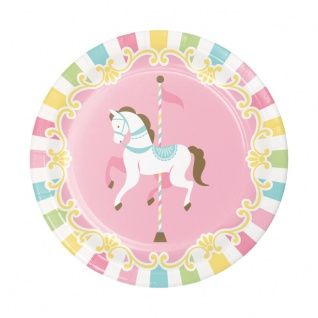 8 kleine Teller klassische Babyparty Pferde Karussell