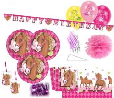 XXL 68 Teile Pferd Pink Pony Party Deko Set für 8 Kinder