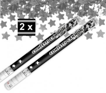 2 x XXL Konfetti Kanone Silberne STERNE 80 cm - Konfetti Shooter Streamer - für Silvester, Hochzeit, Party, Geburtstag