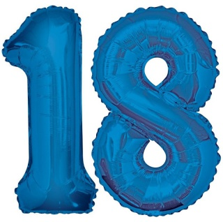 Folien Ballon Zahl 18 in Blau - XXL Riesenzahl 86 cm zum 18. Geburtstag in Blau