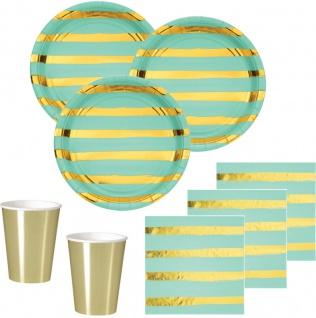 32 Teile Deluxe Party Deko Set Mint & Gold Glanz gestreift für 8 Personen