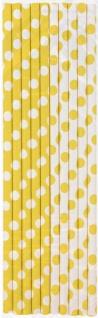 10 Papier Trinkhalme Gelbe Pünktchen