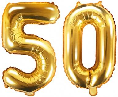 Folienballons Zahl 50 Gold Metallic 35 cm