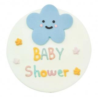 Zucker Plakette kleine Wölkchen Babyshower 7, 8 cm