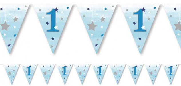Wimpel Girlande blinke kleiner Stern in Blau zum 1. Geburtstag
