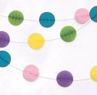 Girlande mit kleinen Papier Dekobällen in Gelb, Rosa, Grün, Blau und Violett