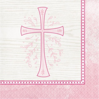 16 Servietten Kreuz in Rosa