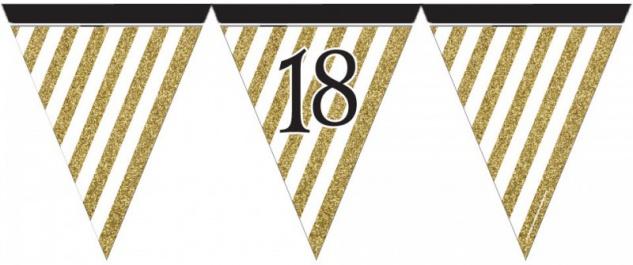 Wimpelkette 18. Geburtstag Black and Gold