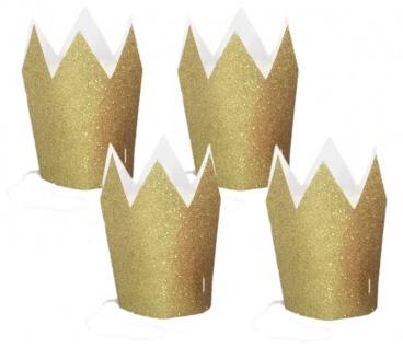 4 kleine goldene Glitzer Krönchen - Vorschau 1