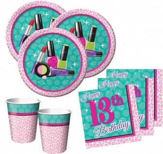 32 Teile 13. Geburtstag Beauty Makeup Spa Topmodel Basis Party Deko Set für 8 Personen