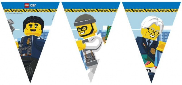 Lego City Polizei Wimpel Girlande aus Papier